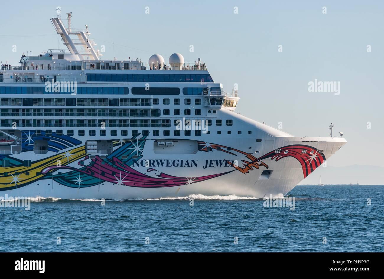 Cruise ship, Norwegian Jewel on the sea, near Vancouver, British Columbia, Canada - Stock Image