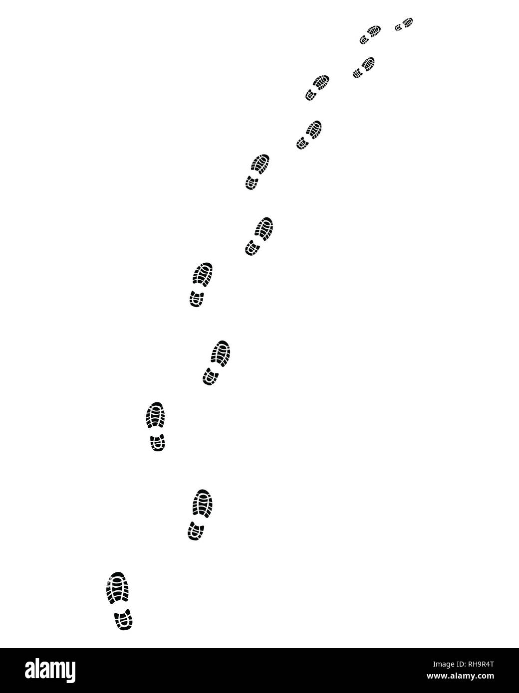Trail of shoes prints, turn left or right - Stock Image