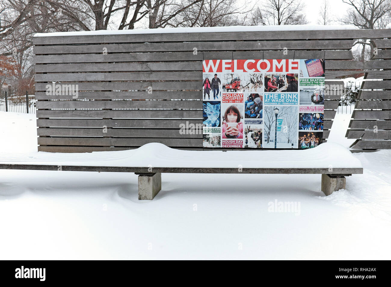Winter in Wade Park Oval in Cleveland, Ohio, USA. - Stock Image