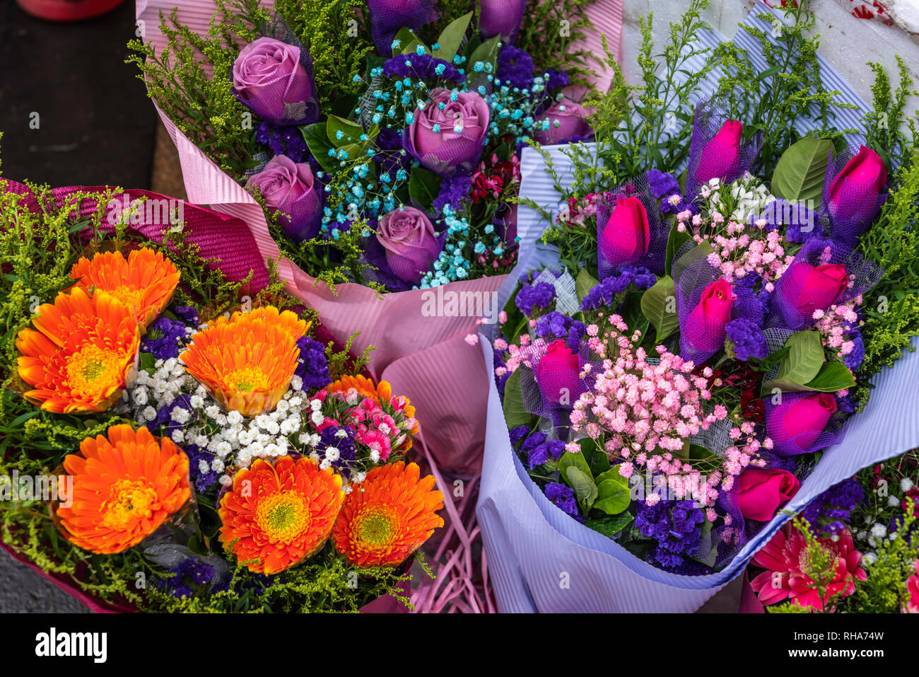 Closeup of flowers in the Flower Market of Kowloon, Hong Kong, China, Asia. - Stock Image