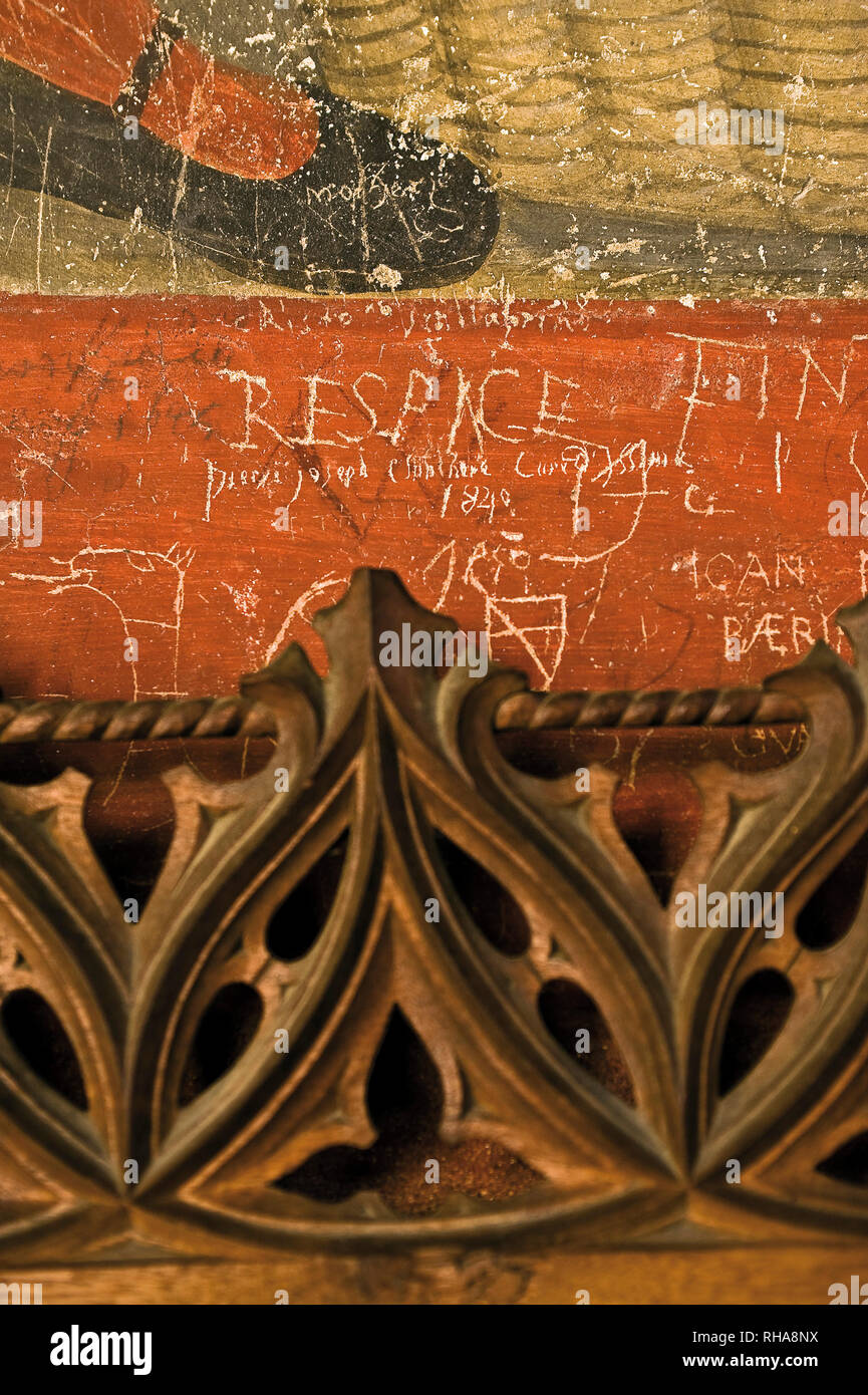 Italy Valle d'Aosta Issogne castle Written on the walls - Stock Image