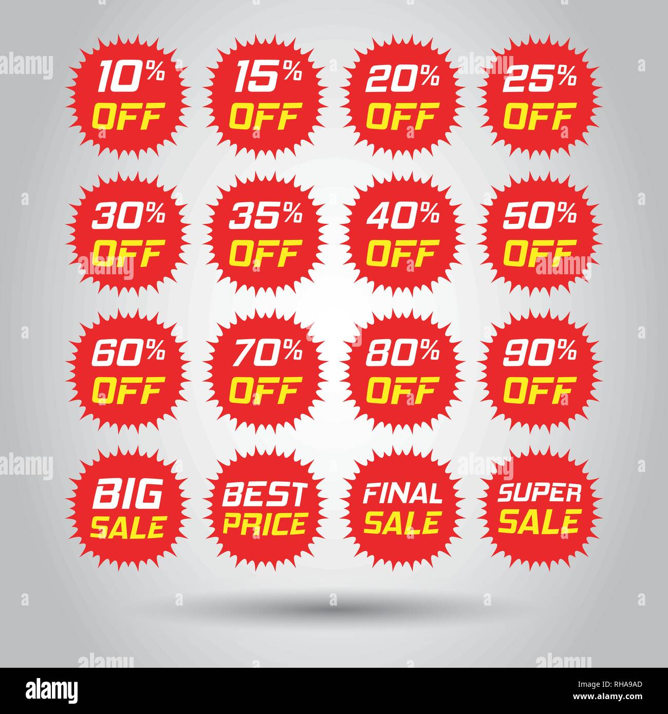 Discount stickers vector icon set in flat style. Sale tag sign illustration on white background. Promotion 10, 15, 20, 25, 30, 35, 40, 50, 60, 70, 80, - Stock Vector