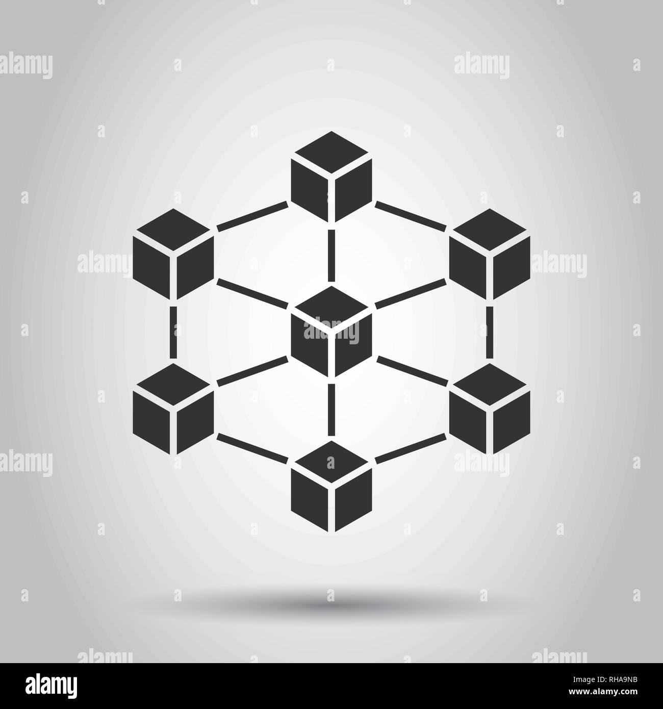 Blockchain technology vector icon in flat style