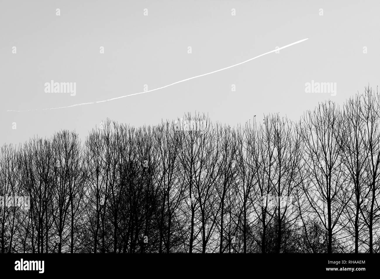 Plane wake turbulence - Stock Image