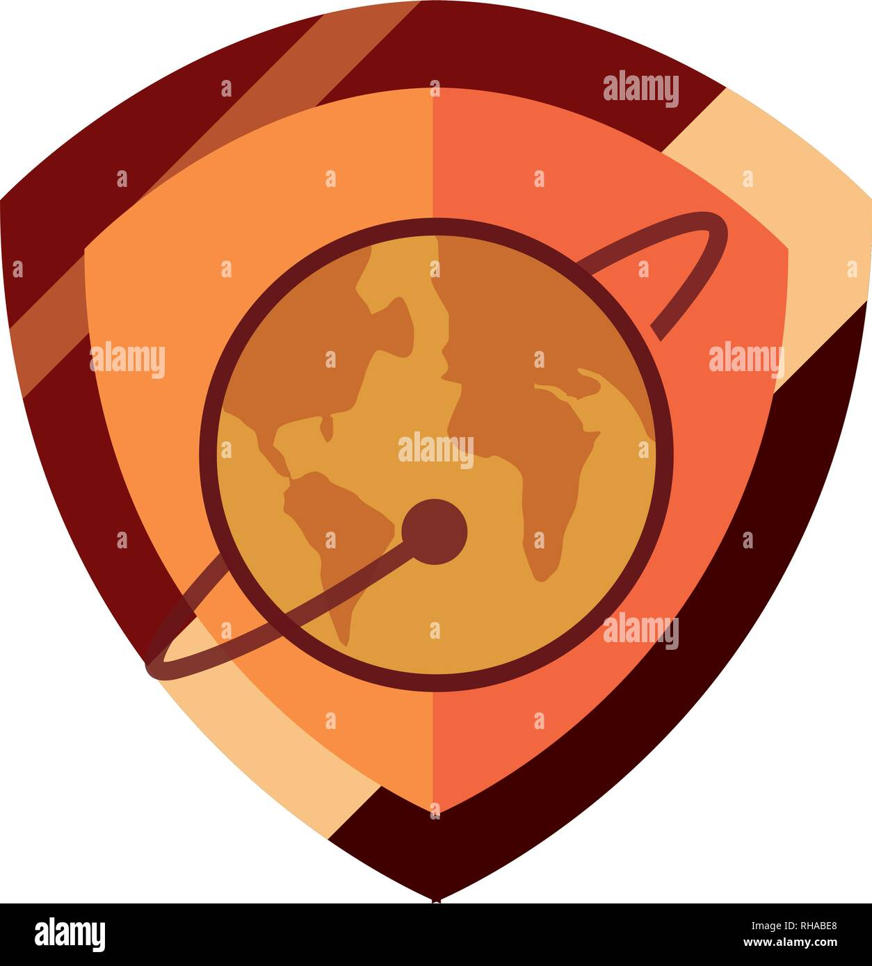 world shield protection sign copyright vector illustration - Stock Image