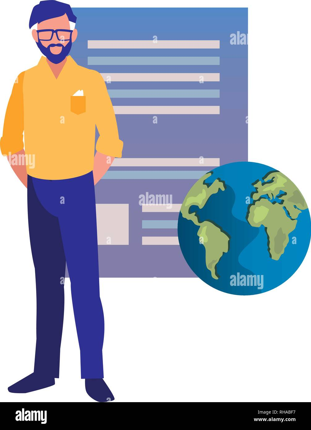 business man world patent copyright vector illustration - Stock Image