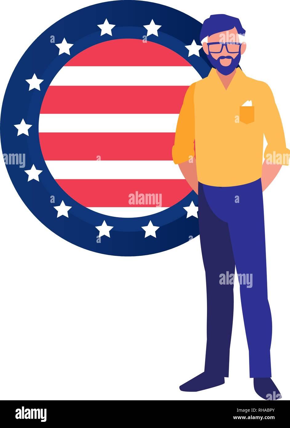 businessman american flag on white background vector illustration Stock Vector