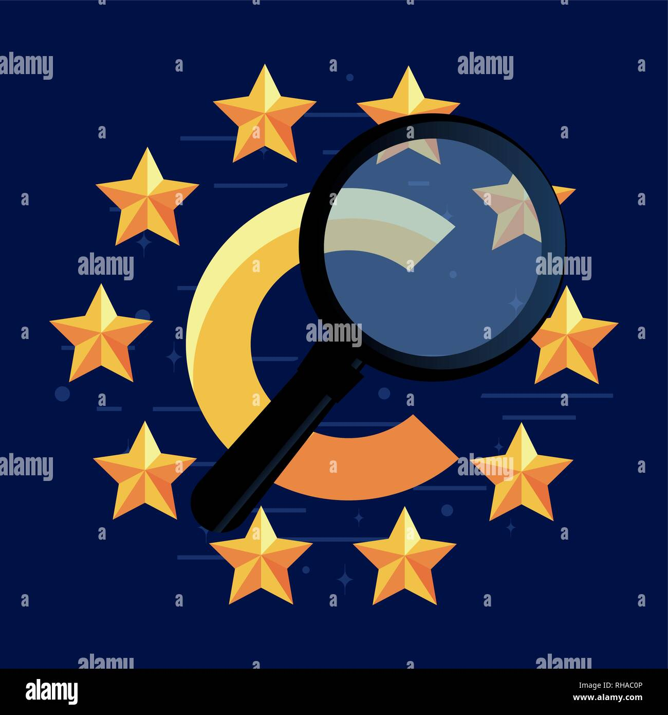copyright magnifying glass stars sign vector illustration - Stock Image