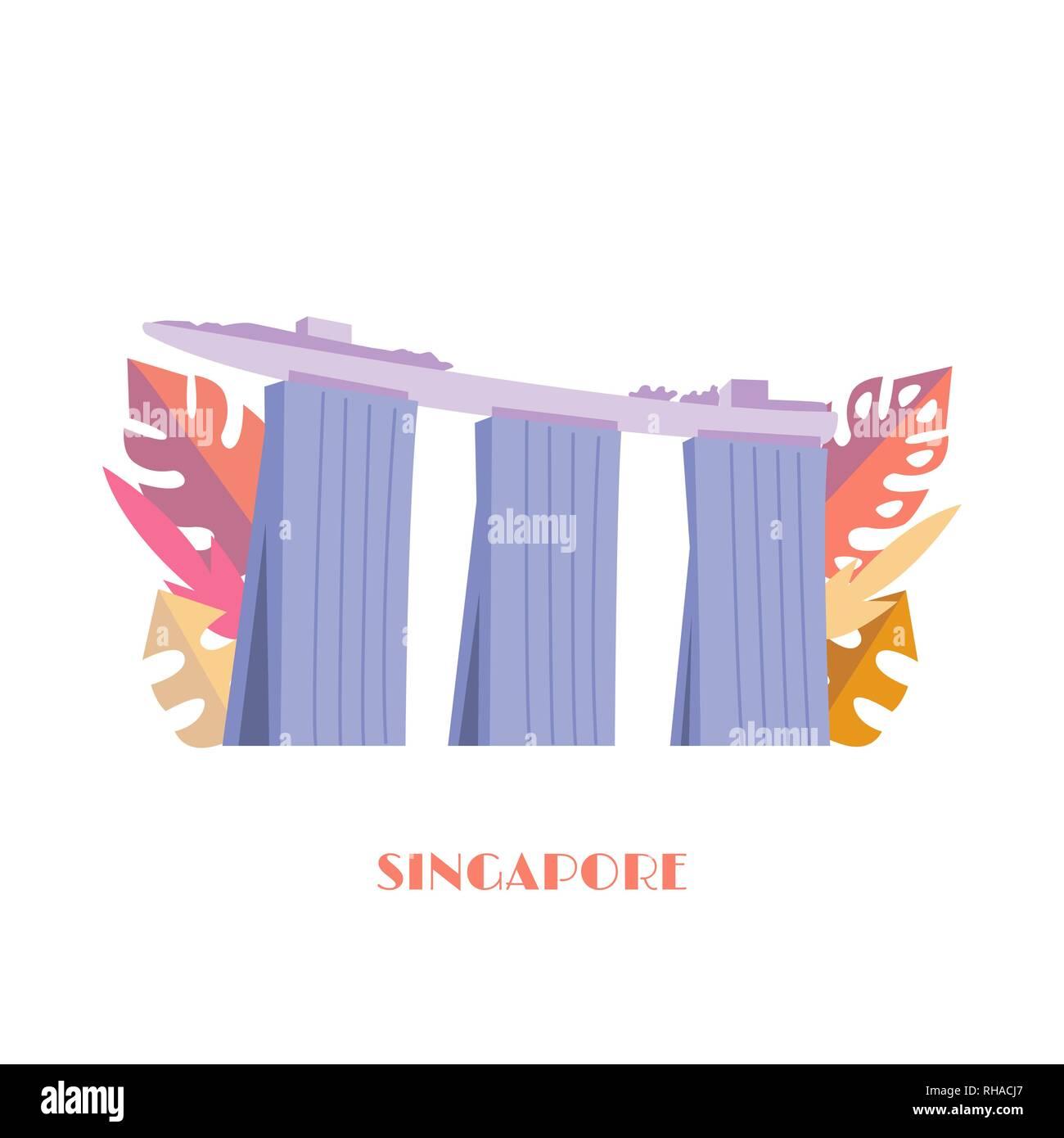 Marina Bay Sands building vector illustration. Singapore landmark. Singapore famous hotel with tropical leaves isolated on white background. - Stock Image