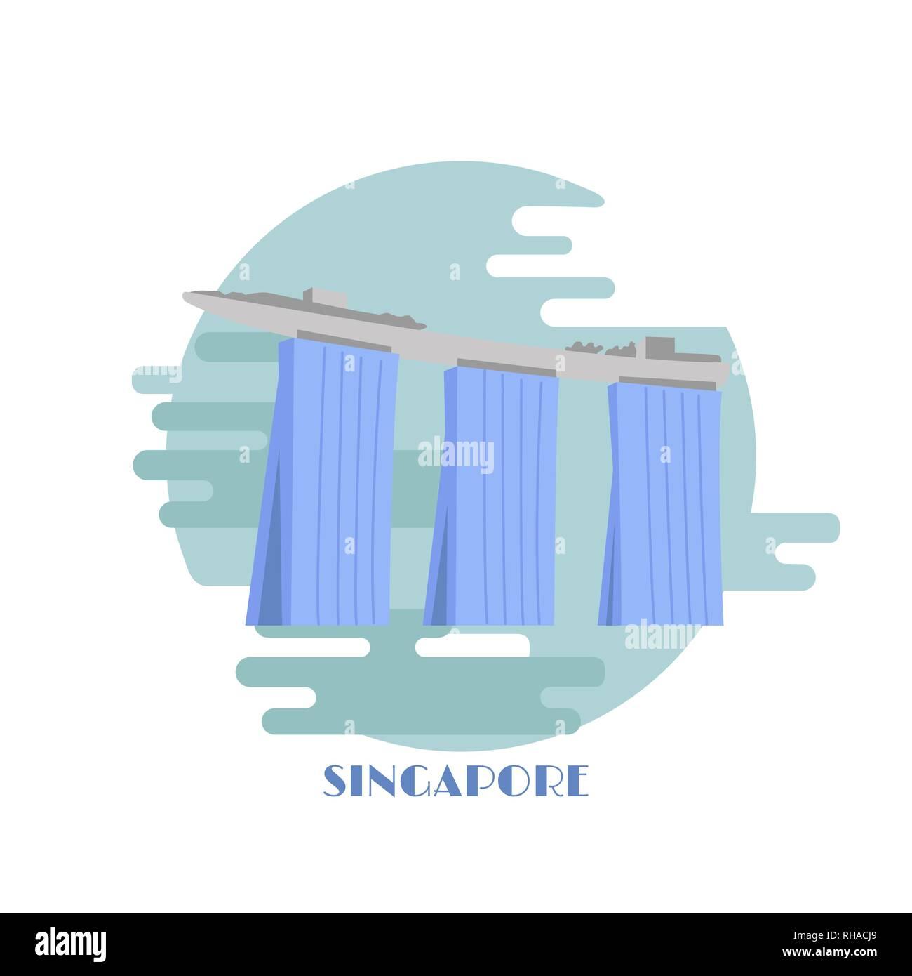 Marina Bay Sands building vector illustration. Singapore landmark. Singapore famous hotel isolated on white background. - Stock Image