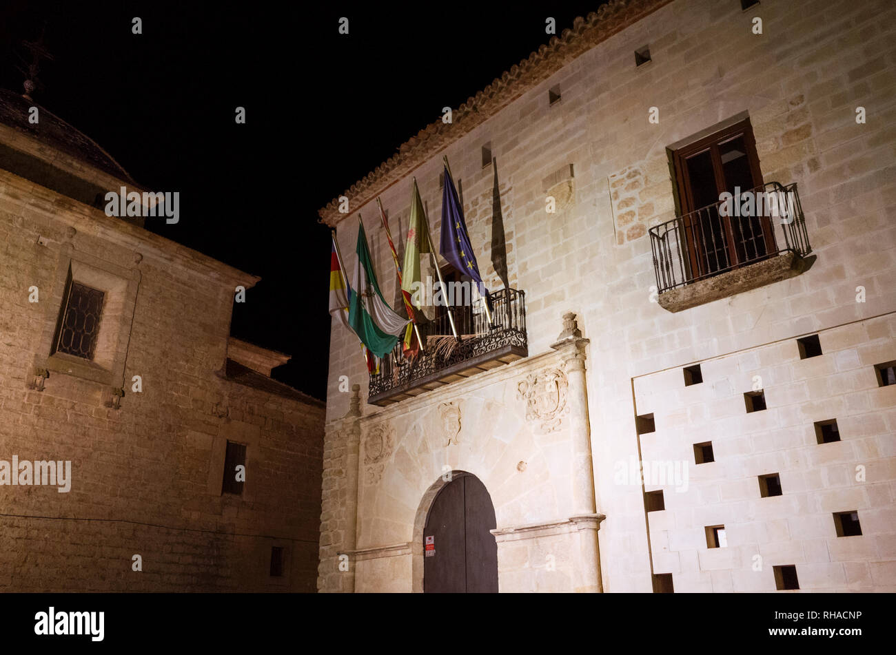 Castellar, Jaen province, Andalusia, Spain : Night view of the town hall placed at the Palacio de la Casa Ducal de Medinaceli in Plaza de la Constituc - Stock Image