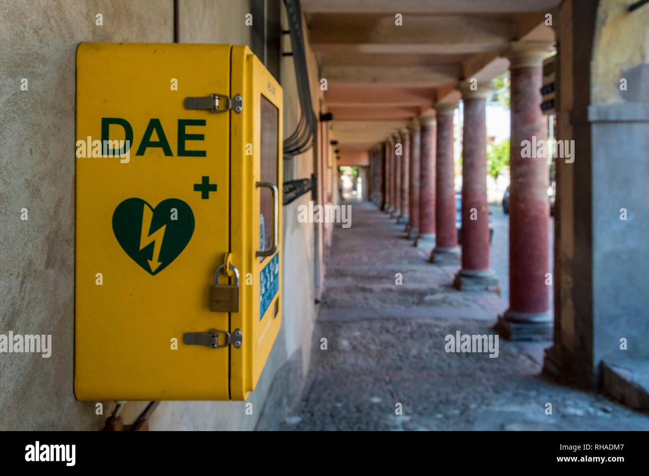 Meldola, Italy, close up of an automated external defibrillator (in italian abbreviation is DAE) place on public street Stock Photo