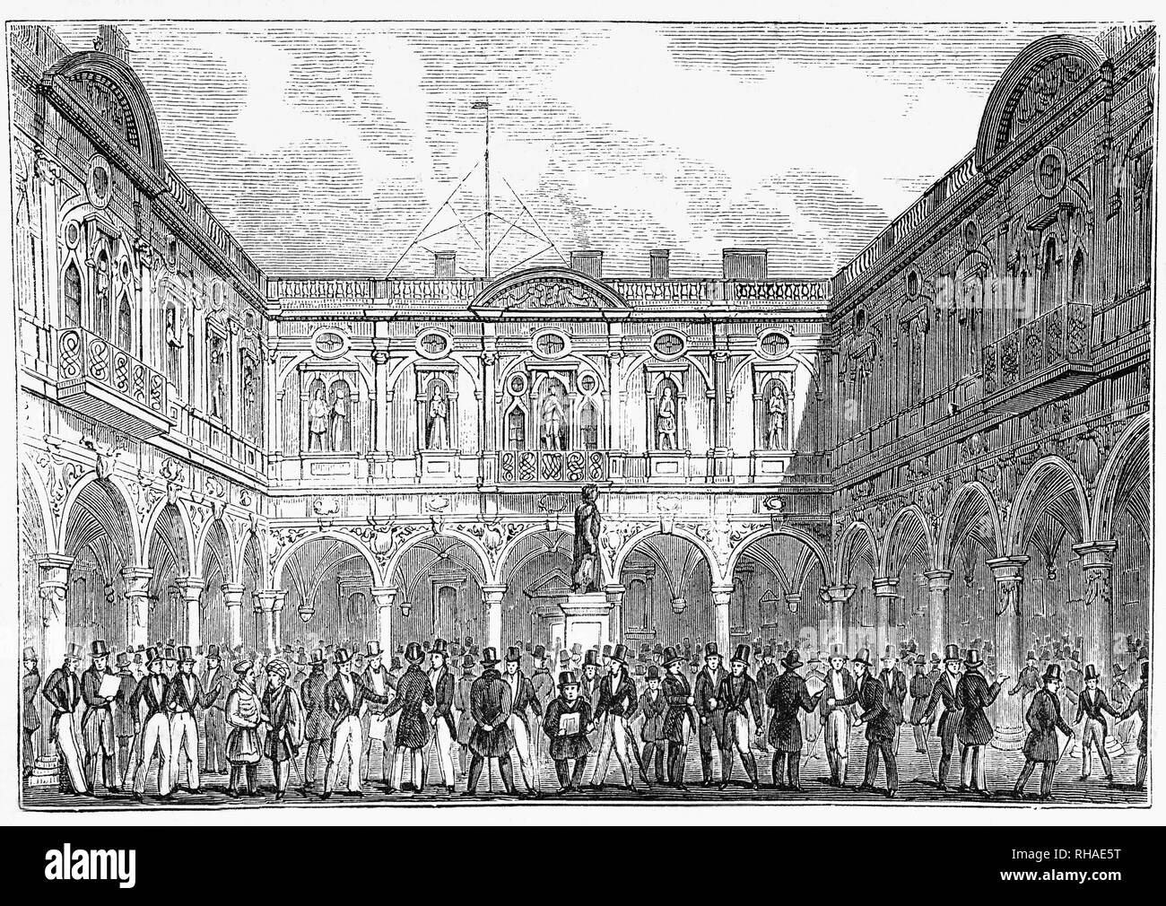 The Royal Exchange in  Cornhill and Threadneedle Street, London was founded in the 16th century by the merchant Thomas Gresham as a centre of commerce for the City of London. It has twice been destroyed by fire and subsequently rebuilt. The illustration shows the second complex built on the site, designed by Edward Jarman, opened in 1669 and burned down in 1838. Traditionally, the steps of the Royal Exchange is the place where royal proclamations, dissolution of parliament;  death or abdication of a monarch; confirmation of the next monarch's accession to the throne are read out. - Stock Image