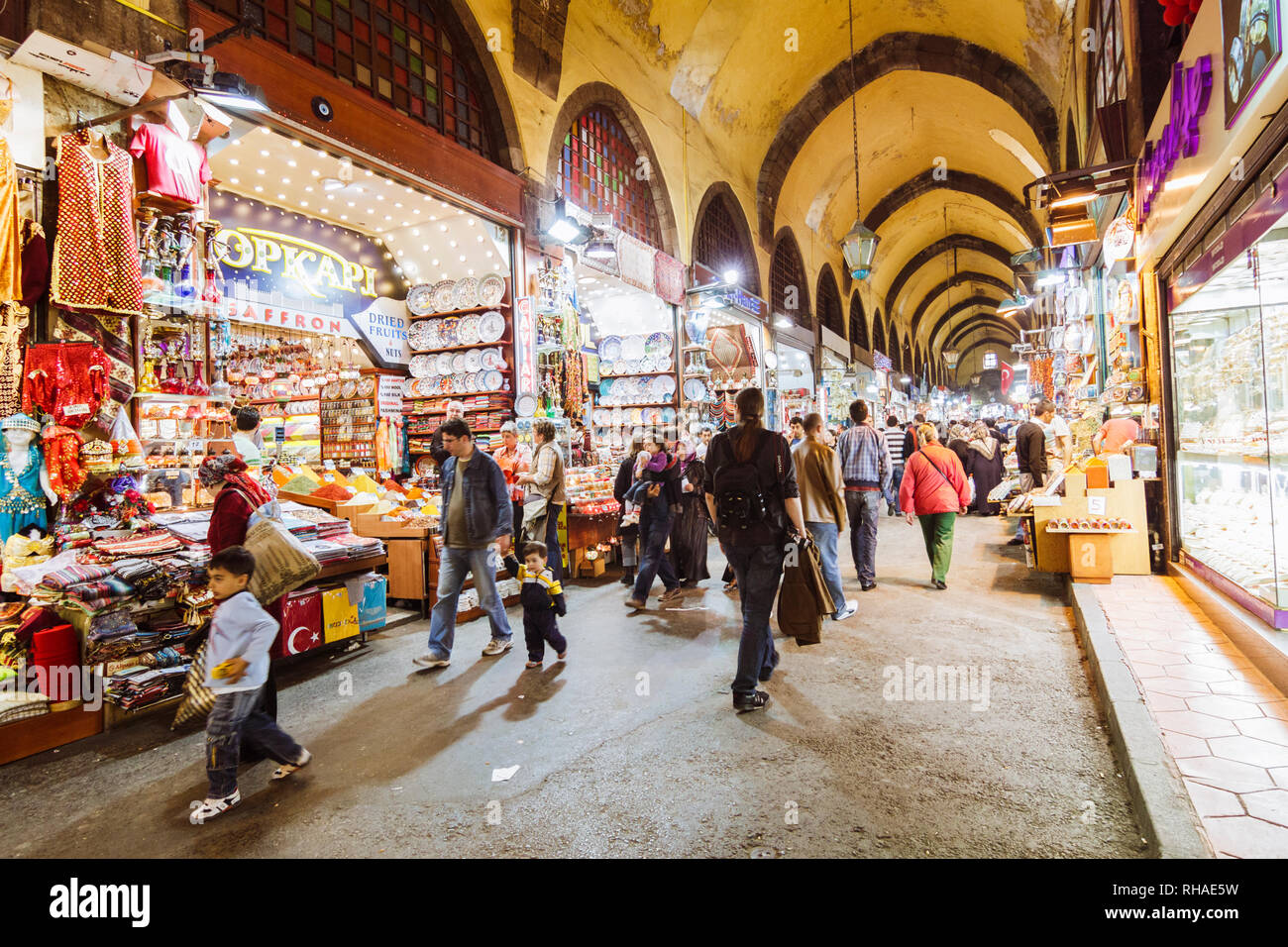 Istanbul, Turkey : People stroll through the Spice Bazaar also known as the Egyptian Bazaar in the Eminönü quarter of the Fatih district. Built in 166 - Stock Image
