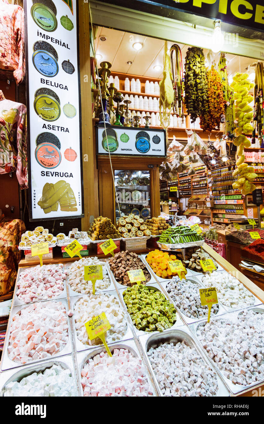 Istanbul, Turkey : Turkish delights for sale at the Spice Bazaar also known as the Egyptian Bazaar in the Eminönü quarter of the Fatih district. Built - Stock Image