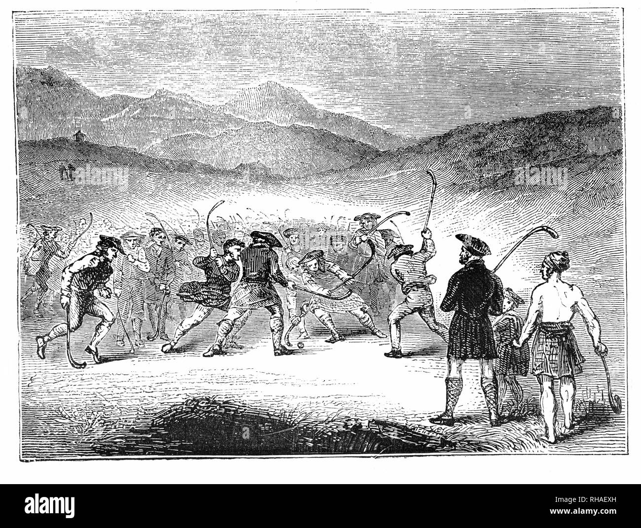 Shinty is a team game played with sticks and a ball, now played mainly in the Scottish Highlands, and amongst Highland migrants to the big cities of Scotland. It was formerly more widespread in Scotland, and was even played for a considerable time in northern England and other areas in the world where Scottish Highlanders migrated. - Stock Image