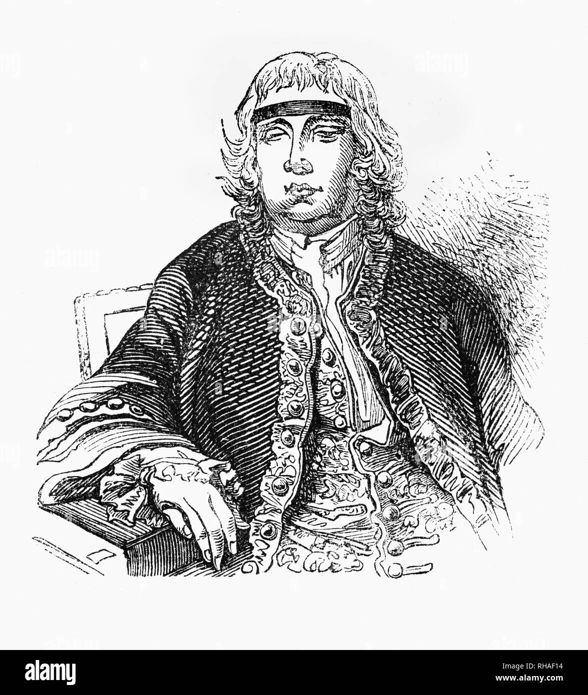 Portrait of Sir John Fielding (1721-1780), English magistrate and social reformer of the 18th century. Despite being blinded aged19, John studied law with his half-brother and chief magistrate Henry Fielding.  John Fielding was known as the 'Blind Beak' for his ability to identify criminals by the sound of their voices. He root out corruption and improved justice in London. They formed the first professional police force, the Bow Street Runners, circulated the Police Gazette with descriptions of known criminals and established the first police criminal records department. - Stock Image
