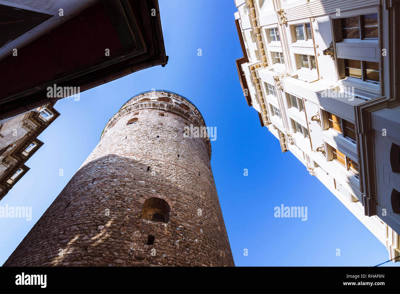 Istanbul, Turkey : View of the Genoese built Galata Tower (1348) in the historic Galata (Karaköy) quarter within the Beyoğlu (Pera) district. - Stock Image