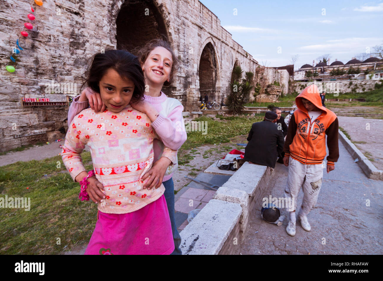Istanbul, Turkey : Daily life scene under the Aqueduct of Valens, a Roman aqueduct which was the major water-providing system of the Eastern Roman cap - Stock Image