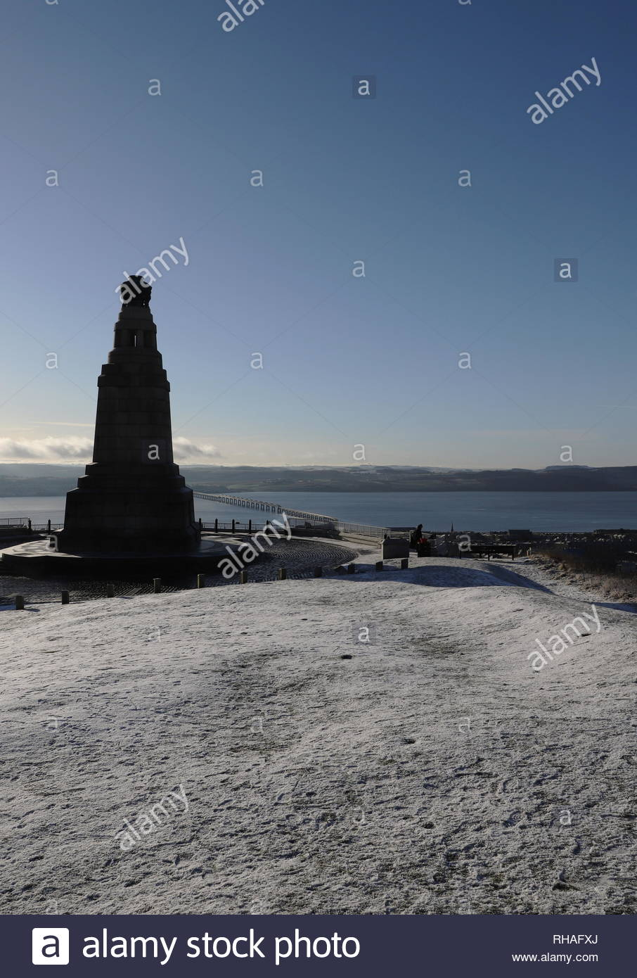 War Memorial Dundee Law with heavy frost Dundee Scotland  January 2019 - Stock Image