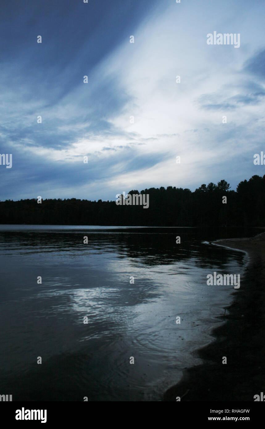 Dusk on Lake of Two Rivers Algonquin Park - Stock Image