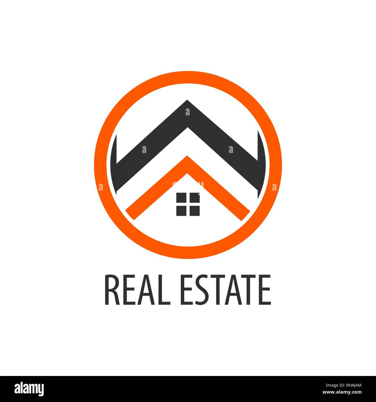 Circle real estate logo concept design. Symbol graphic template element vector - Stock Image
