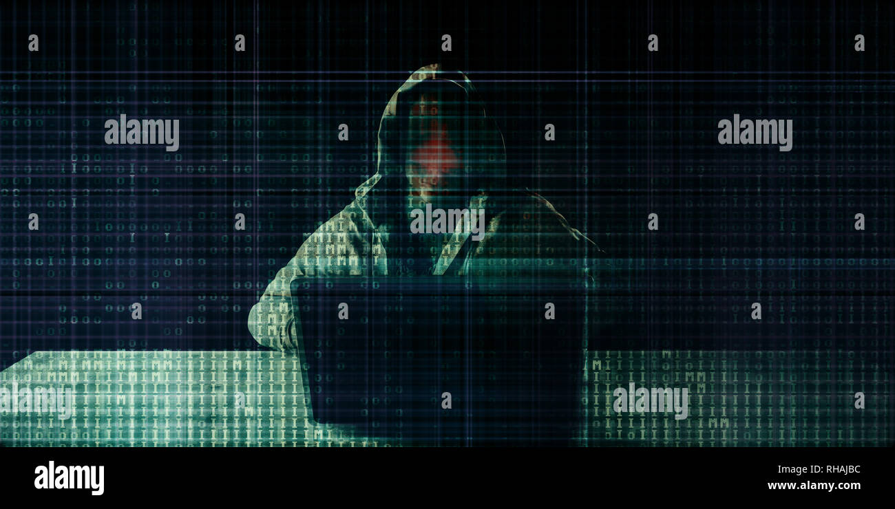 Hacker Hacking on Binary Digital Background Concept - Stock Image