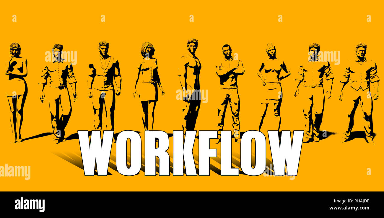 Workflow Concept With Business Professionals Standing in a Row - Stock Image