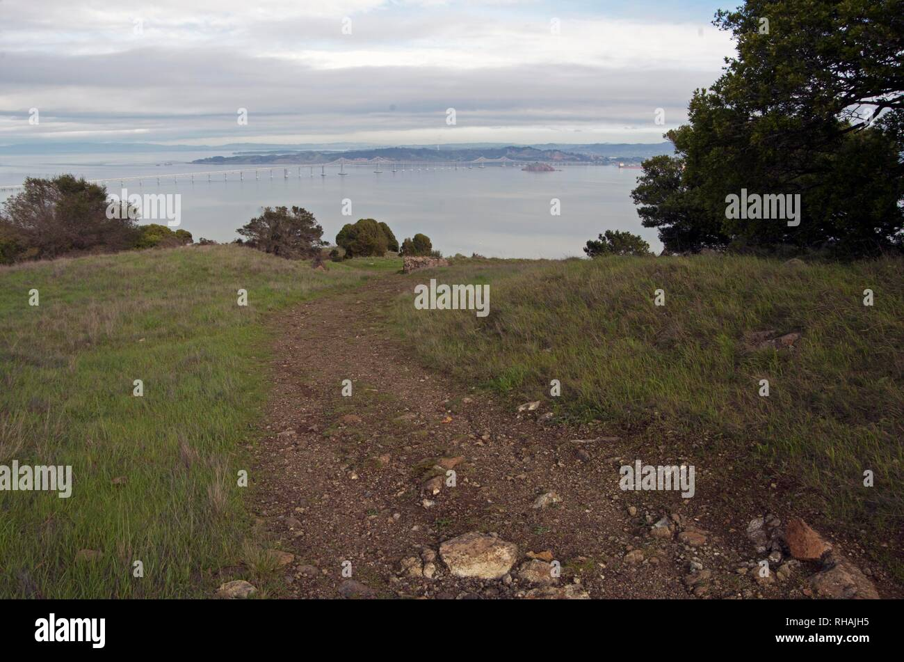 Ring Mountain is a public space in Marin County in which walkers can get views of all of the Bay Area, including San Francisco. - Stock Image