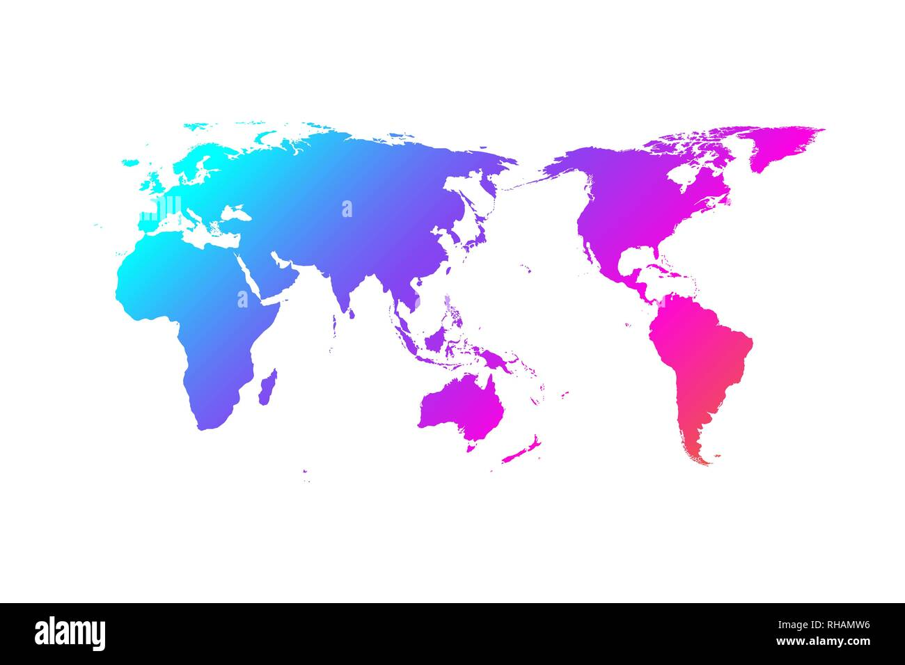 Colorful world map vector gradient design, Asia in center - Stock Image