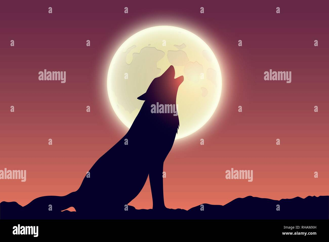 wolf howls at full moon silhouette vector illustration EPS10 - Stock Image