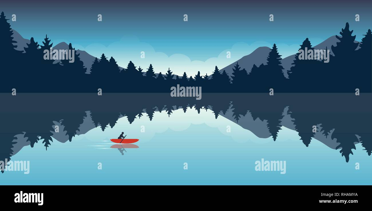 lonely canoeing adventure with red boat forest landscape vector illustration EPS10 - Stock Vector