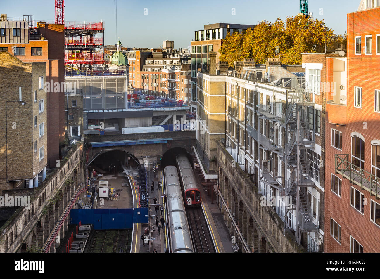 Barbican Station Trains - Stock Image