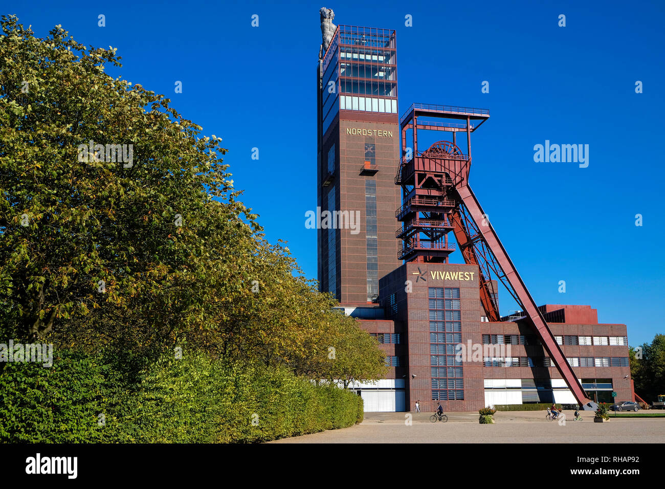 Germany, Gelsenkirchen, 27.09.2018, The former Nordstern mine in Gelsenkirchen with the headquarters of the real estate company Vivawest - Stock Image