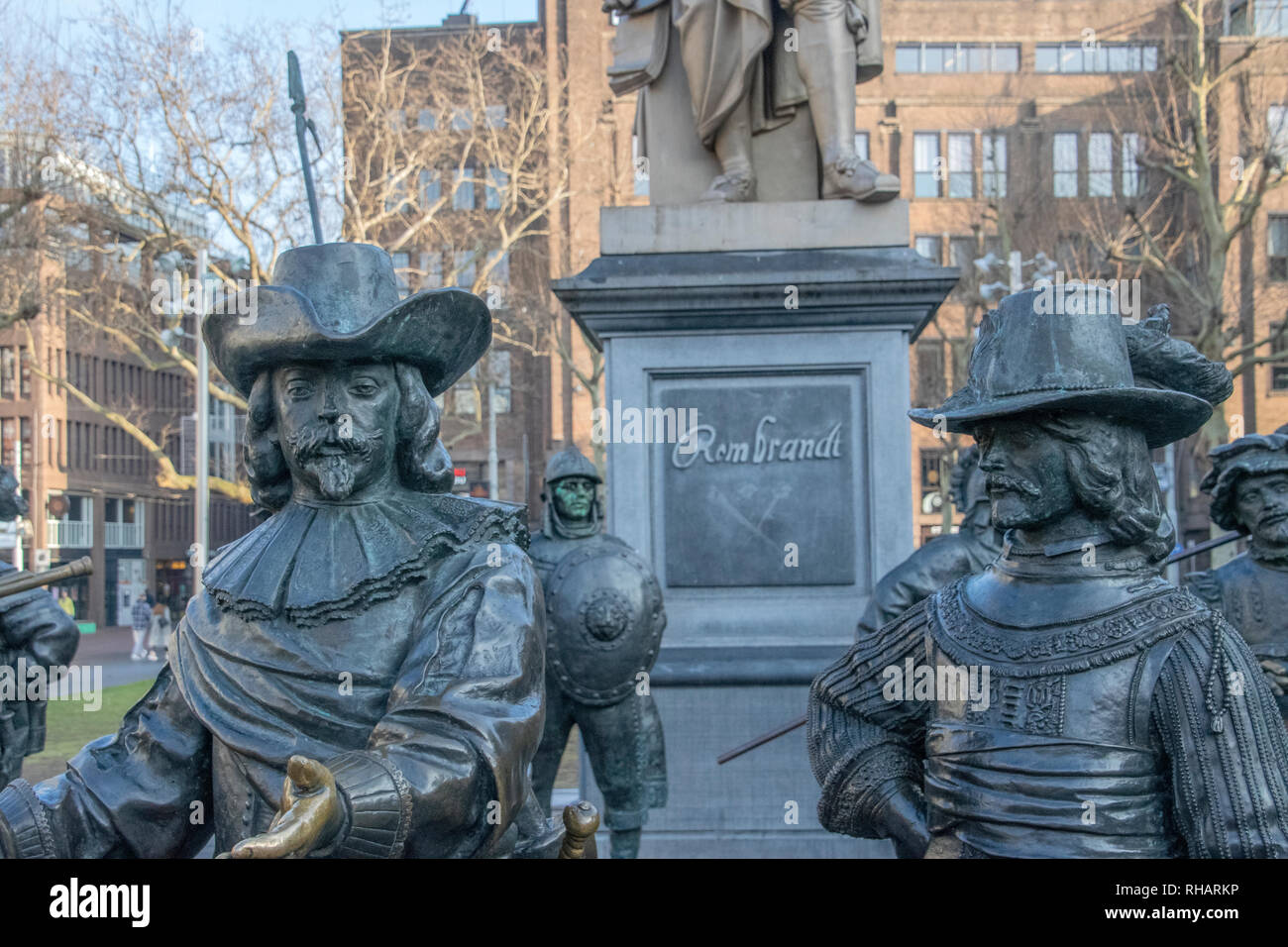 Details Of The Rembrandt Monument At The Rembrandtplein At Amsterdam The Netherlands 2019 - Stock Image