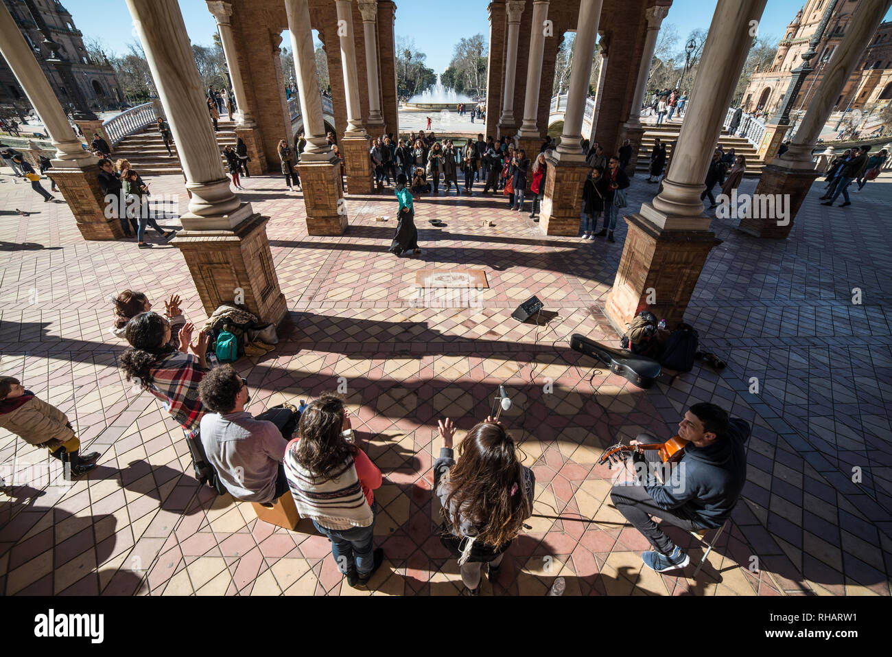 Flamenco in Plaza de Espana, Sevilla, Andalucia, February 2019 - Stock Image
