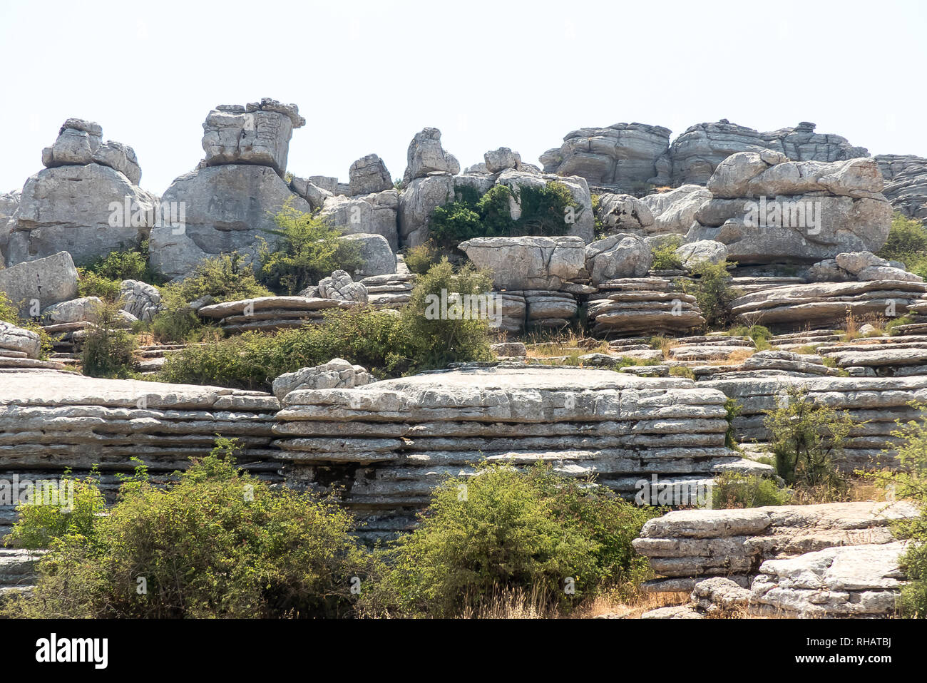 Andalucia in Spain: strange rock formations in the Torcal de Antequera natural park - Stock Image