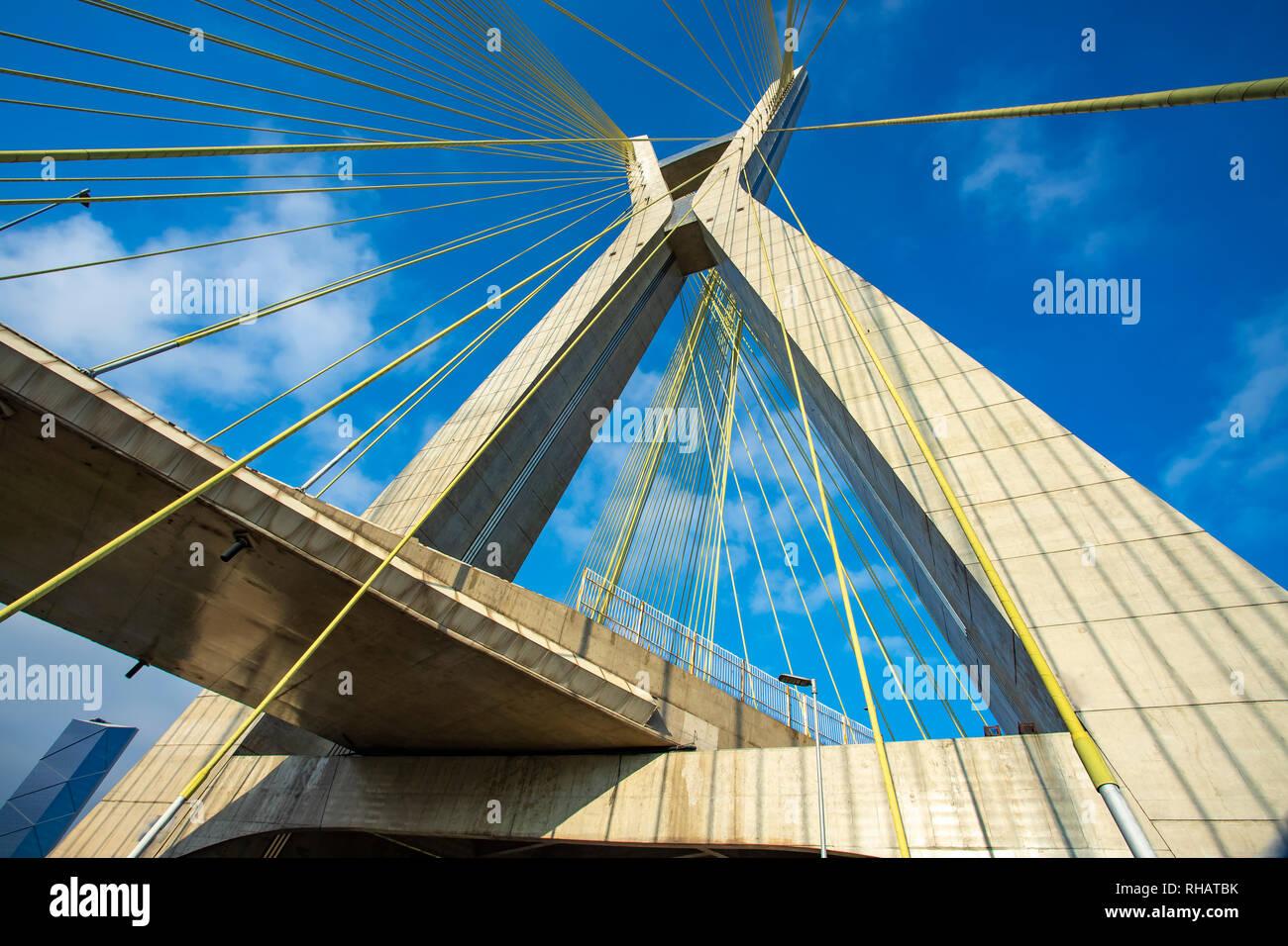 Modern architecture. Modern bridges. Cable-stayed bridge in the world, Sao Paulo Brazil, South America. Stock Photo