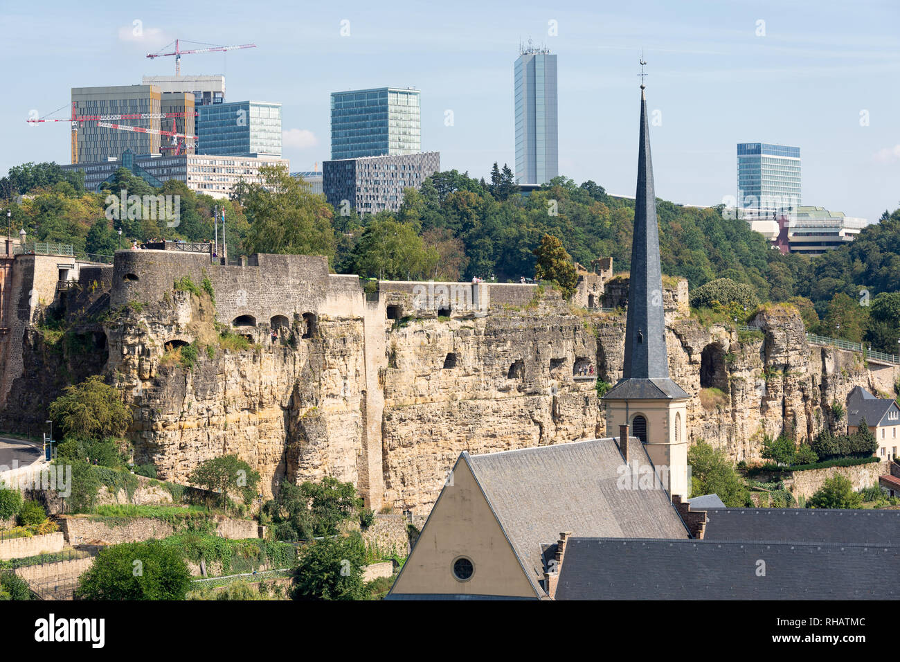 Luxembourg city, aerial view of the Old Town and Grund - Stock Image