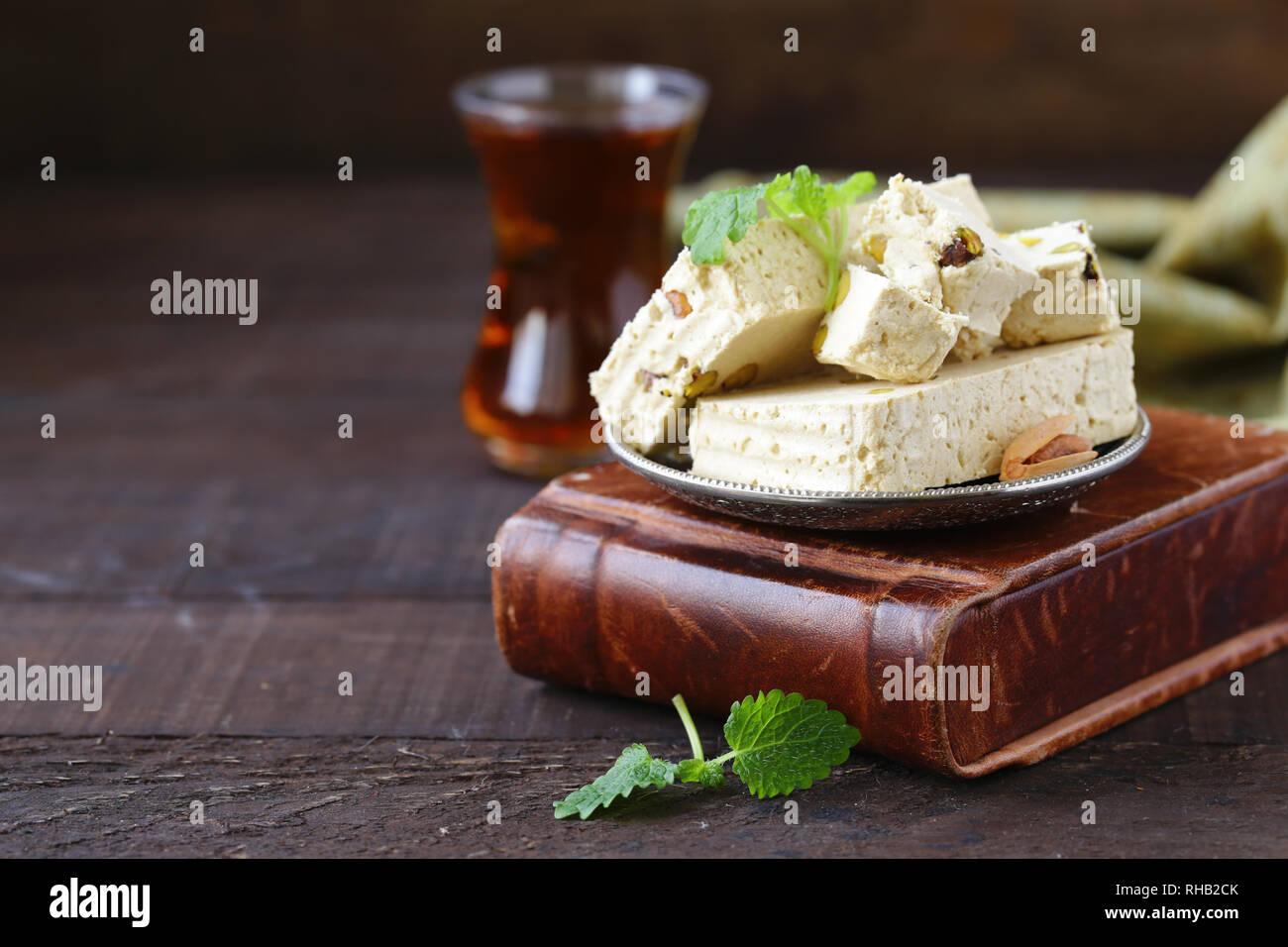 Oriental sweets - halva with pistachios - Stock Image
