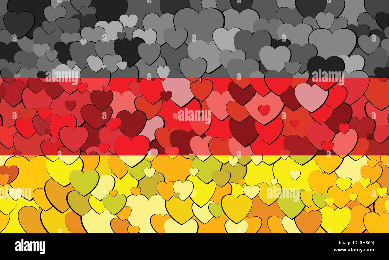 Germany flag made of hearts background - Illustration - Stock Vector