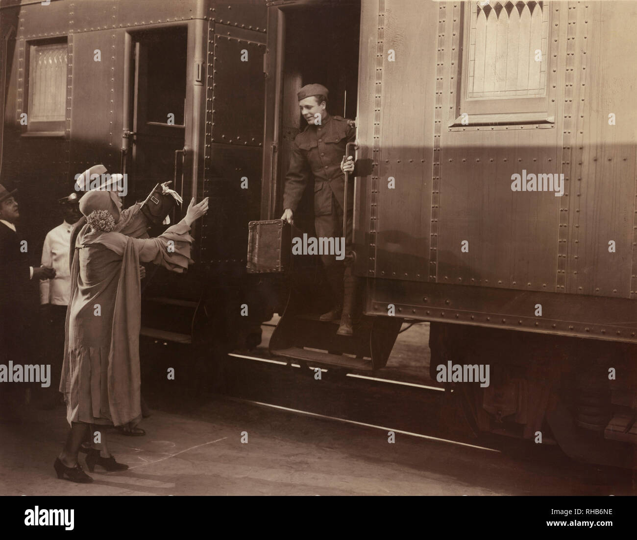 Russell Hardie (on train), on-set of the Film, 'In Old Kentucky', MGM, 1935 - Stock Image