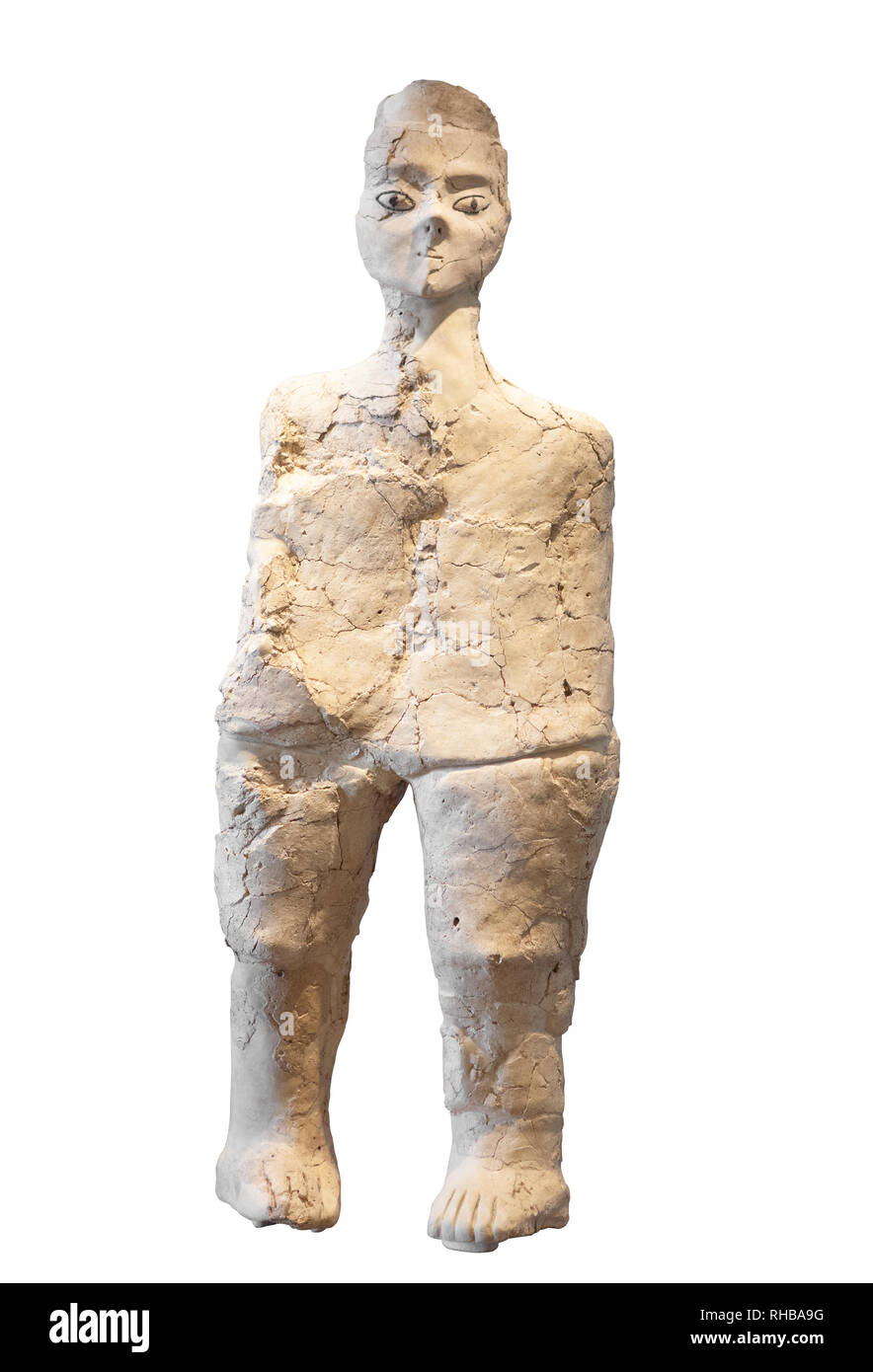 Ain (Ayn) Ghazal Statue. Plaster and reed statue dated to the Pre-pottery Neolithic B period. Jordan, Ayn Ghaza. - Stock Image