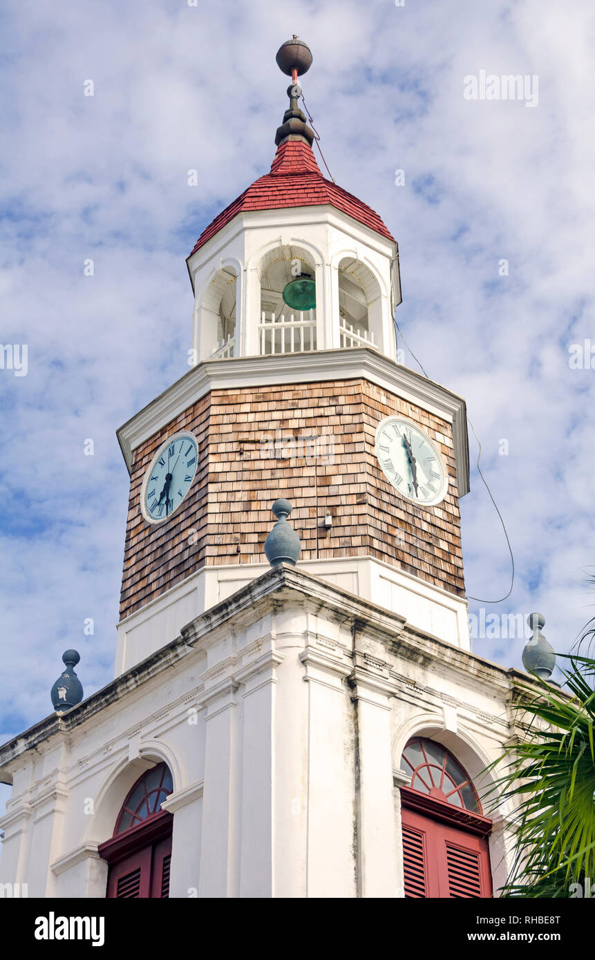 The Steeple Building is a  Lutheran church  built by the  Danes in  the 1750s, Saint Croix, U.S.  Virgin Islands - Stock Image