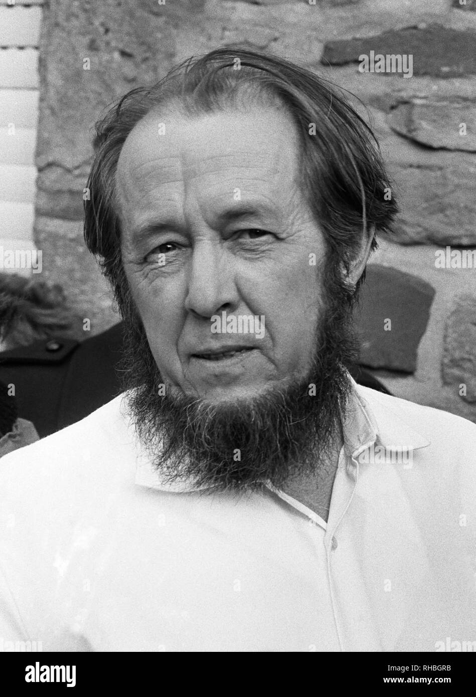 Russian writer Aleksandr Solzhenitsyn in 1974, after being exiled from the Soviet Union, in Langenbroich, West Germany where he was staying in the home of writer Heinrich Böll. - Stock Image