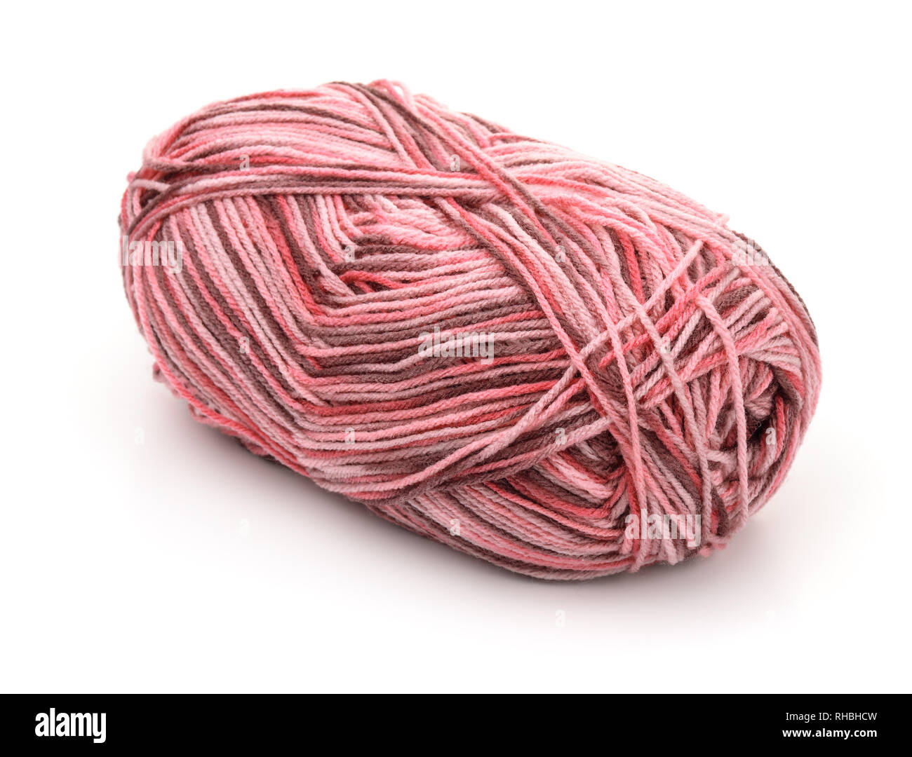 Skein of multicolor knitting yarn isolated on white - Stock Image