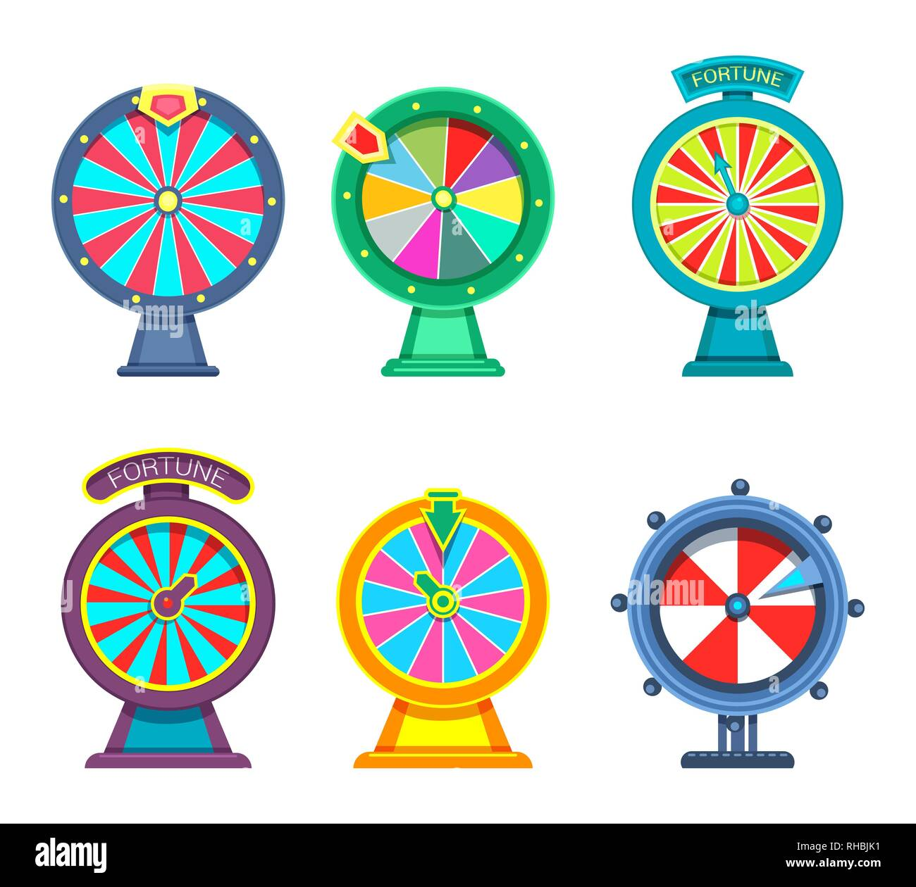 Gambling wheels of fortune - Stock Vector