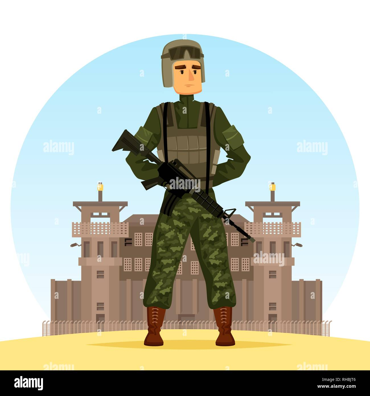Army soldier with m16 gun - Stock Vector
