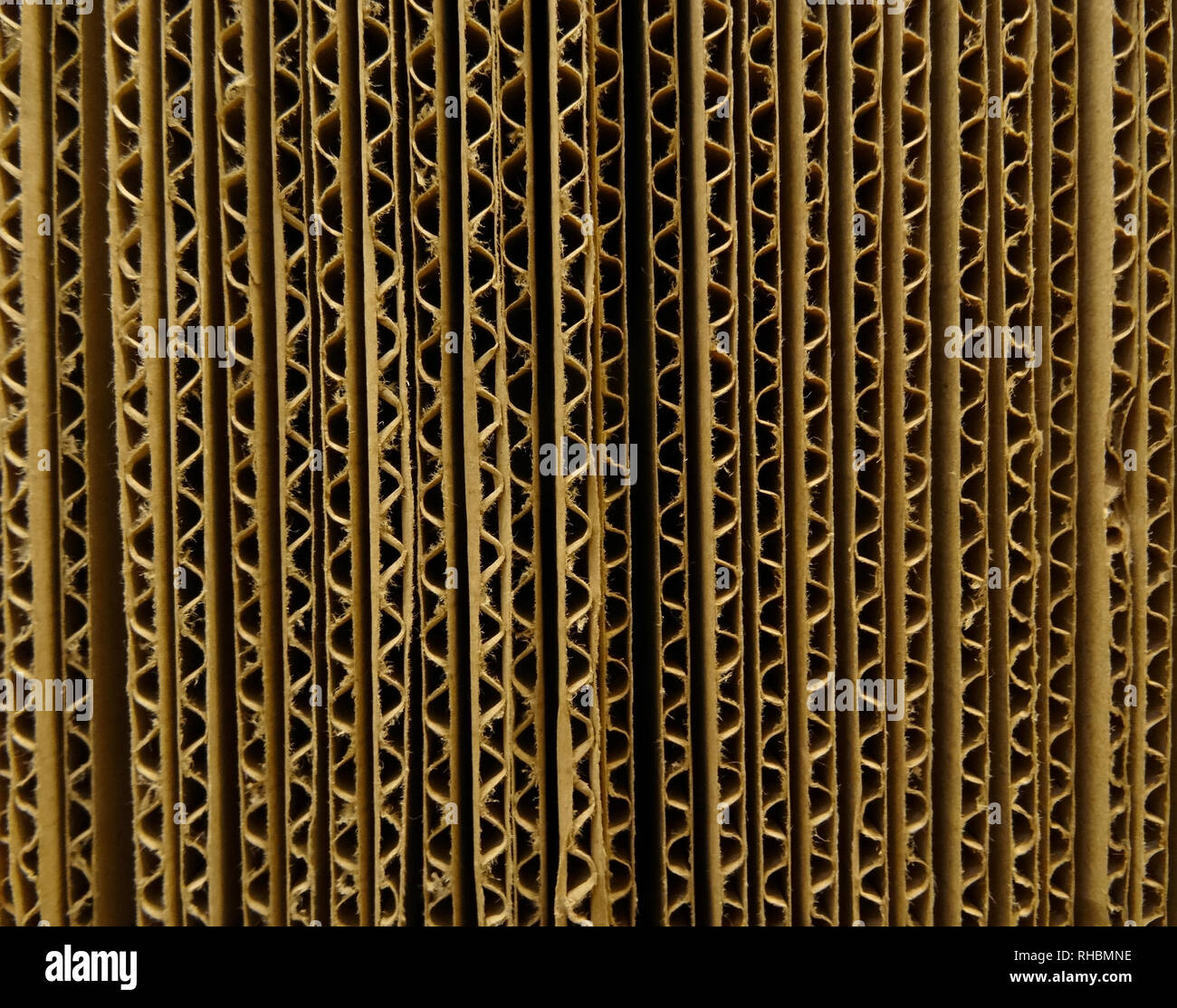 The End of Corrugated Cardboard Sheets Texture Background - Stock Image