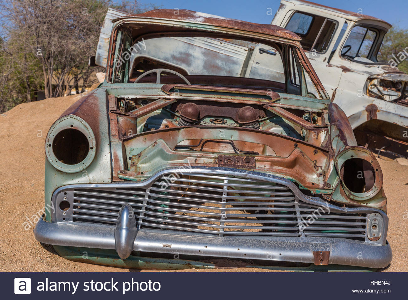 Abandoned car wrecks in the desert of Namibia, Africa Stock
